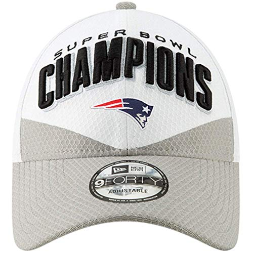 New Era Youth New England Patriots White/Gray Super Bowl LIII Champions Trophy Collection Locker Room 9FORTY Adjustable Hat: Size: Youth