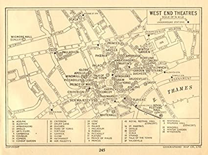West End Theatres London Map.Amazon Com London West End Theatres Geographers A Z 1956 Old