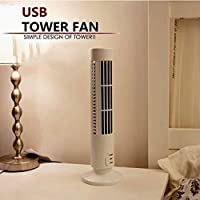 5V Mini USB Tower Fan No Leaf Bladeless Air Conditioner Cool Cooling Desk Fan white