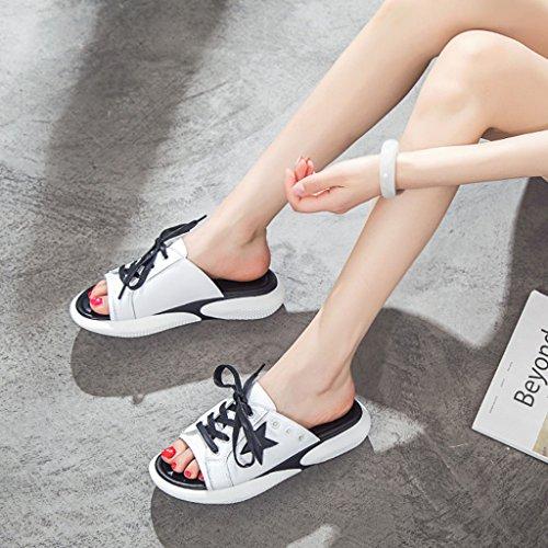 5 Femmes Sauvage Chaussures 35 épaisse la coréenne 8 2018 TIANYINI de Nouveau 6 d'été Plage XIE à de Noir en us5 39 Cuir Rouge Mode Pantoufles Black uk6 des 5cm Semelle 3 5 Hauteur Mode TgUp0gq
