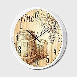 RWNFA Non Ticking Wall Clock Silent with Metal Frame HD Glass Cover,Wine,Wooden Barrels and Bunch of Grapes on Wood Backdrop Botany Harvest Theme Artwork Decorative,for Office,Bedroom,16inch
