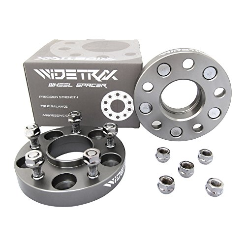 "Rugged TUFF WIDETRAX 2pc 1"" 5x114.3 5x4.5 Wheel Spacers Adapters 12x1.25 Studs Lug Nuts Included Hub Centric Titanium Finish 6061 T6 Billet Aluminum (1 Pair) 25mm for Infiniti Nissan"