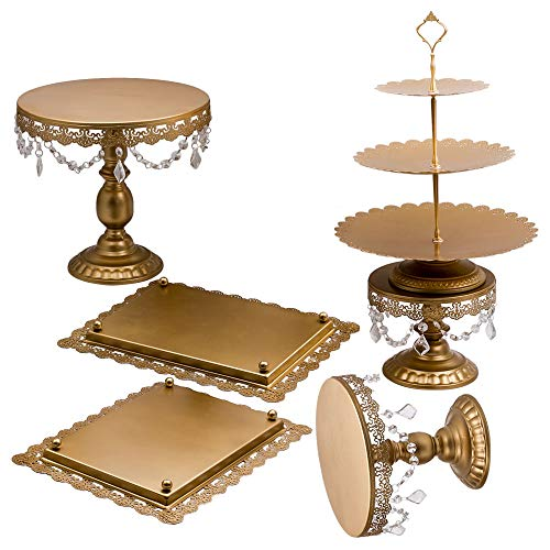 6Pcs Golden Metal Crystal Cake Holder Cupcake Stand Wedding Party Display by Tuningsworld (Image #1)