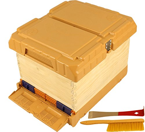 KO1 Complete Bee Hive with Apimaye Hive Upgrade Kit, IPK Bottom Board, Pollen Trap, Top Feeder and Hive Top Cover, with bonus Hive Tool, Bee Brush (Orange Top)