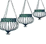 Set of 3 Victorian Hanging Planters Wrought Iron Green Finish