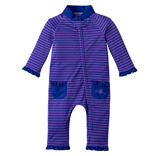 UV SKINZ UPF 50+ Baby Girls' Sun & Swim Suit - Purple Pop Stripe - 3/6 m ()