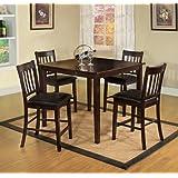 Furniture of America IDF-3012PT-5PK Letta 5-Piece Counter Height Table Set, Espresso Finish