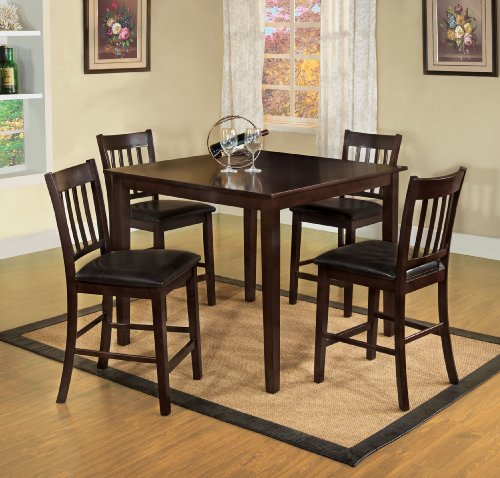 Gathering Counter Height Square Table - Furniture of America Letta 5-Piece Counter Height Table Set, Espresso Finish