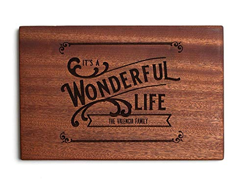 Personalized Gifts Couples Cutting Board - Wood Cutting Boards Bridal Shower, Housewarming, and Wedding Gifts (10 x 15 Mahogany Rectangular, It's a Wonderful Life Design)