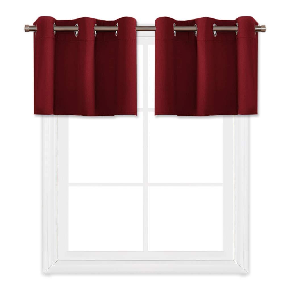 PONY DANCE Blackout Curtain Tier Window Treatments Grommet Top Home Decor Curtain Valances for Bathroom/Kitchen, 42'' W x 18'' L, Burgundy Red, 2 Panels
