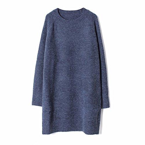 amp;QIUMEI blue Tricot Jupe Jupe Col Moyen En Robe OME Cheveux Lache Pure Longs Pull Rond dqxda6