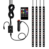 inside car lighting - Car LED Strip Light 4pcs 72 LED Underdash Lighting Kits DC 12V LED Interior Lights with Sound Active Function and Wireless Remote Control, Car Charger Included