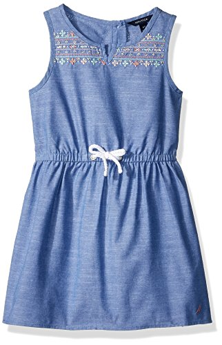 - Nautica Girls' Little' Patterned Sleeveless Dress, Embroidered Chambray, 6X