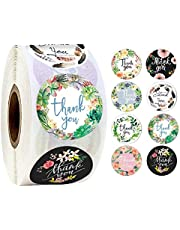 500pcs/roll Thank You Stickers, Round Adhesive Small Business Stickers, 8 Floral Designs Sticker Roll, Thank You Labels for Packaging,Envelope,Gift Bags,Greeting Cards,Wedding,Party,Scrapbook