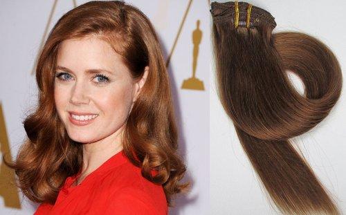 World Pride Модные прямой зажим в наращивание волос 15 дюймов 70 грамм № 8 Средний Браун
