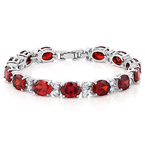 (Gem Stone King 40.00 Ct Oval & Round Red Color Cubic Zirconias CZ Tennis Bracelet 7 Inch)