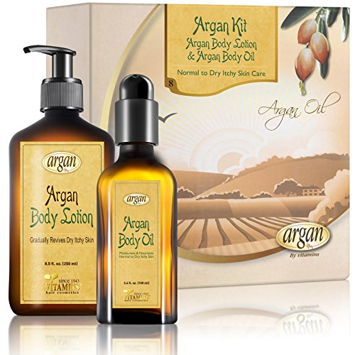 Dry Itchy Skin Body Kit – Advanced Sensitive and Cracked Skin Relief - Moroccan Argan Deep Moisturizer Body Lotion 8.5 oz with Argan Body Oil Serum 3.4 oz Set