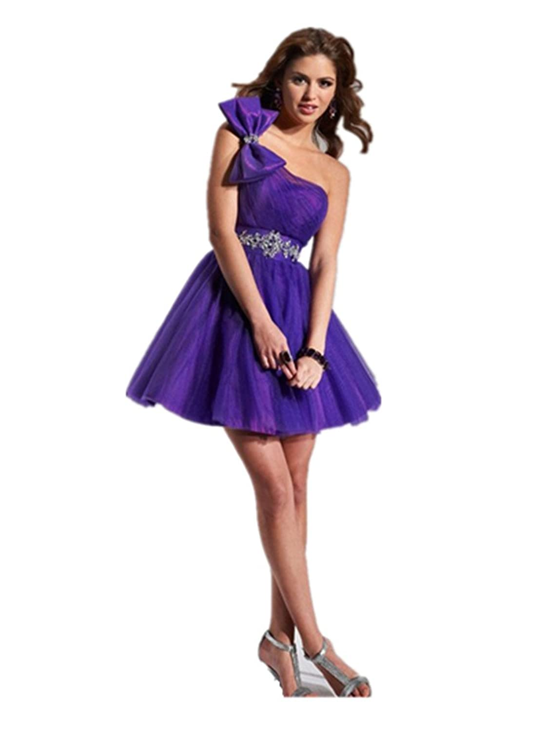 dressvip Purple Bowknet One Shoulder Backless Sleeveless Above Knee Cocktail Dress