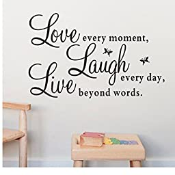 Mosunx Live Laugh Love Heart DIY Removable Quotes Wall Sticker Decal (25*70cm)