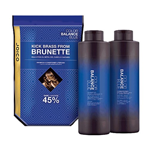 Joico Color Balance Blue Shampoo & Conditioner Liter Duo Hair Color Correction Balancing For Brunettes