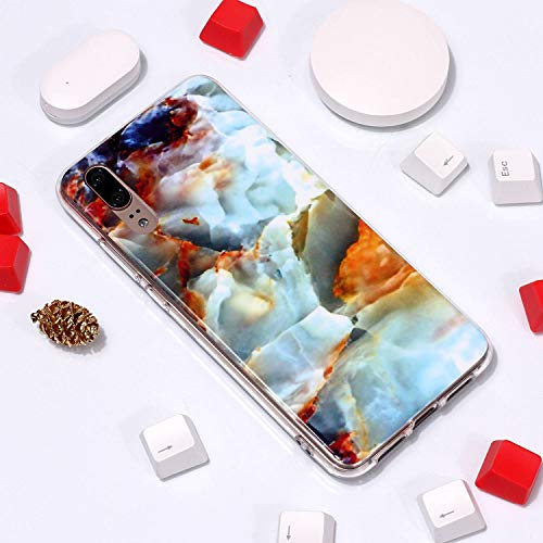for Huawei P20 Marble Case with Screen Protector,Unique Pattern Design Skin Ultra Thin Slim Fit Soft Gel Silicone Case,QFFUN Shockproof Anti-Scratch Protective Back Cover - Fire Cloud by QFFUN (Image #3)