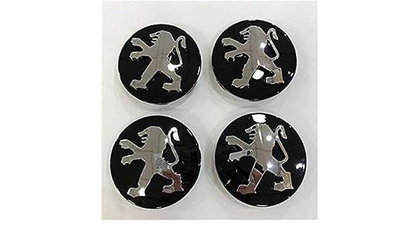 yongyong218 Aleación de Rueda 4 x 60 mm Negro Peugeot Centro Tapacubos Fit 106 107 206 207 306 307: Amazon.es: Coche y moto