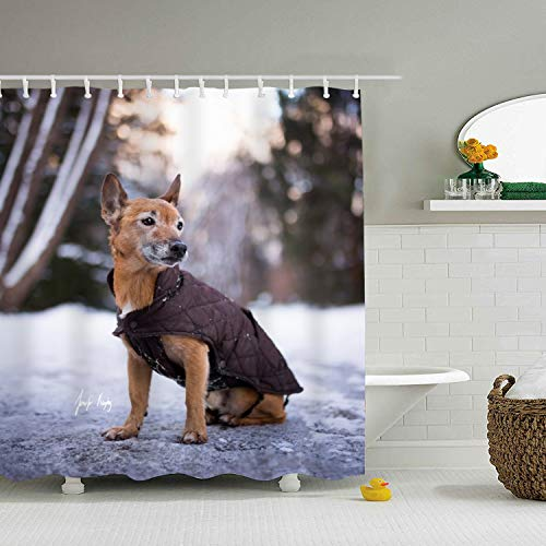 Animal Dogs Printed Waterproof Shower Curtain Liners 71 × 78