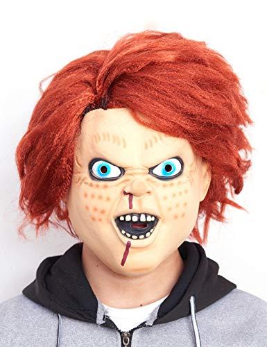 ESPERANZAXU Scary Halloween Mask Novelty Horror Ghost Mask Soft Latex Biochemical Alien Zombie Bloody Mask (Color : Orange Hair) -