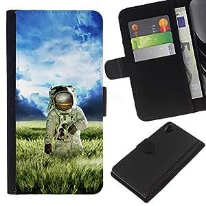 KingStore / Leather Etui en cuir / Sony Xperia Z2 D6502 / Astronauta Cosmonauta Spacesuit Planeta extranjero