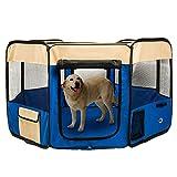 Pet Playpen Portable Foldable Soft Dog Cat Play House - Blue - XL