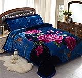JML Fleece Blanket, Plush Blanket King Size 85' x 93', 10 Pounds Heavy Korean Style Mink Blanket - Silky Soft and Warm, 2 Ply A&B Printed Raschel Bed Blanket, Blue Rose