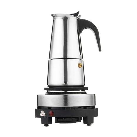 FLAMEER Cafetera Espresso Moka para Cocina de Acero Inoxidable, 4 ...