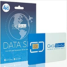 GigSky 4G LTE/3G Data SIM Card with Pay As You Go Data Plans for USA, Canada, Mexico, Europe, Asia, Middle East, and Africa for unlocked iPhone, iPad, Android Phones, Hotspots and Tablets