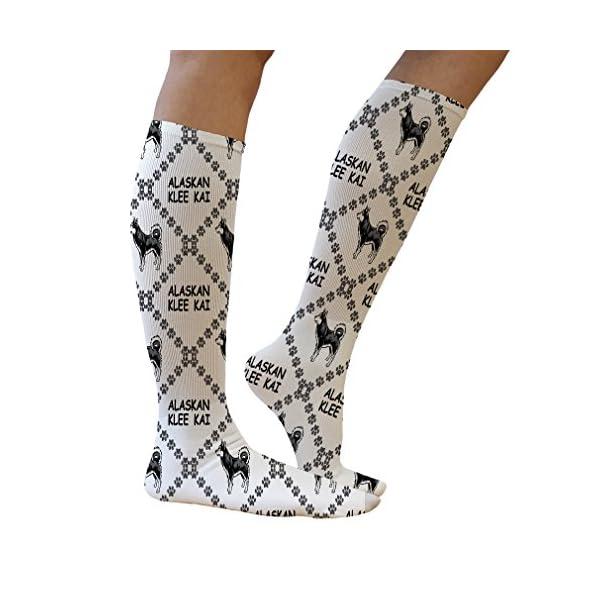 Funny Knee High Socks Alaskan Klee Kai Dog Paws Tube Women & Men 1 Size 5