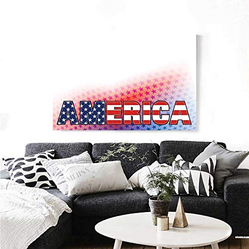 Warm Family American Modern Canvas Painting Wall Art USA Flag on America Stars Background Illustration Freedom Independence Liberty Art Stickers 48