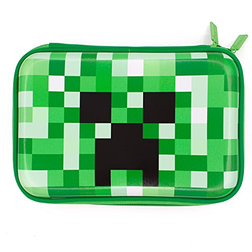 Minecraft School Boys Hardtop Pencil Case Holder - Creeper Face Kids Pencil Box Pen Bag (Green)