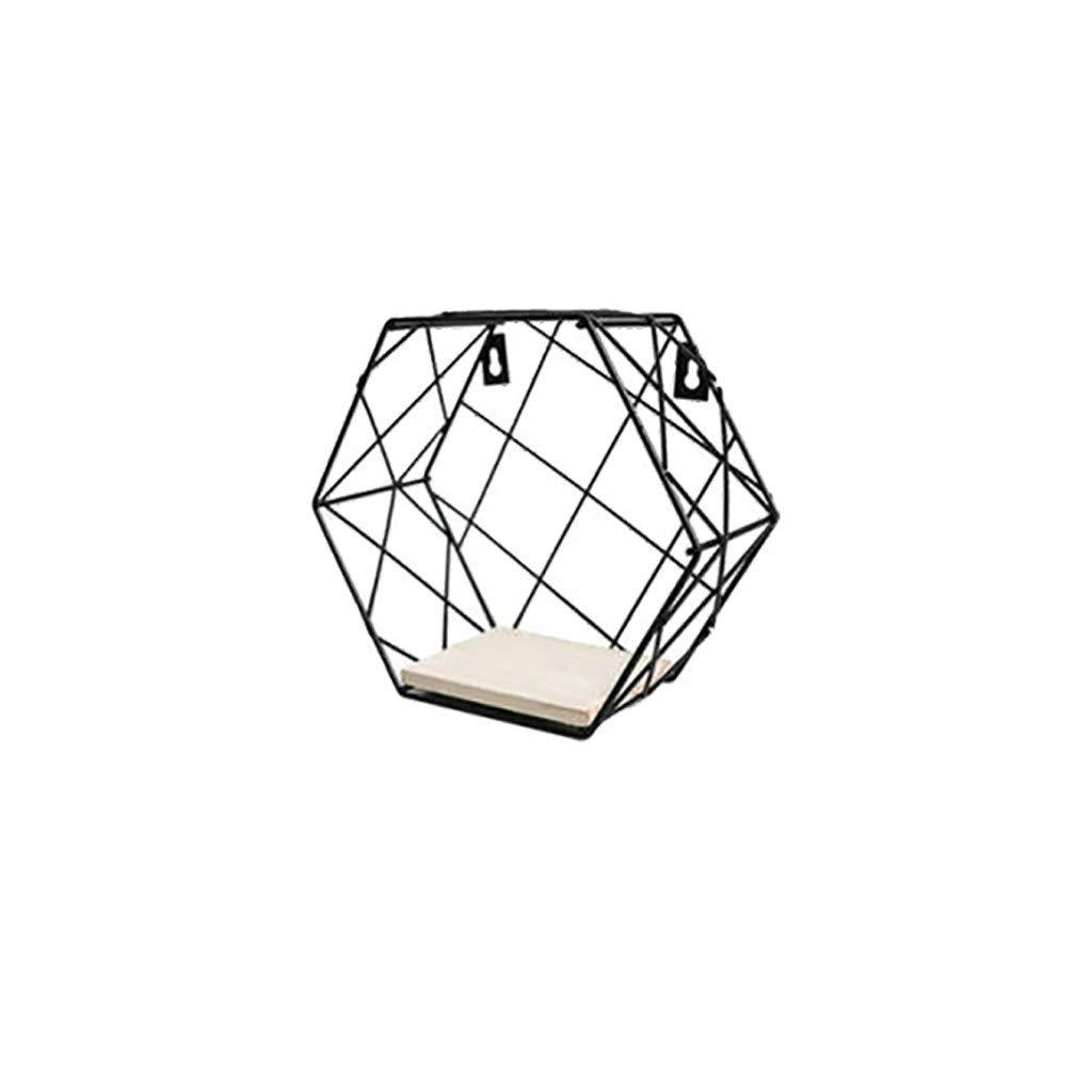 Hexagonal Grid Metal Wall Shelf, Simple Style Hexagon Geometric Diagram Grid Wall Mounted Decoration Racks, Iron Shelf Decoration Racks for Indoor (B)