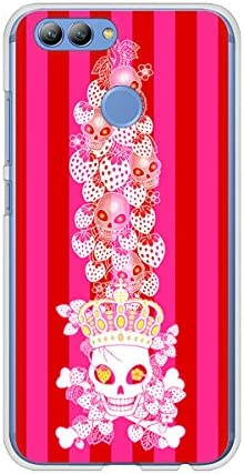 uqモバイル HUAWEI nova2 クリア ケース カバー AG803 苺骸骨王冠蔦(ピンク) 素材クリア【ノーブランド品】