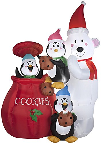 Gemmy Airblown Inflatable Animated Polar Bear Holding a Penguin as they steal Cookies from the Cookie Jar - Indoor Outdoor Holiday Decoration, 6.5-foot Tall x 4.5-foot Wide