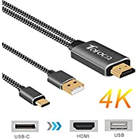 USB Type-C to HDMI 4K Cable, Nylon Braided 2-IN-1 USB-C to HDMI and USB Power Delivery Digital AV Cord for Macbook Pro, Samsung Galaxy S8, Note 8, Huawei Mate 10, Mate 10 Pro, XPS 13, 15