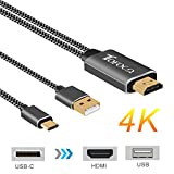 USB Type-C to HDMI 4K Cable, Nylon Braided 2-IN-1 USB-C to HDMI TV and USB Charging Power Delivery Digital AV Cord for 2016 2017 Macbook Pro, Galaxy S9/ S8 Plus, Note 8, Huawei Mate 10 Pro, XPS 13, 15