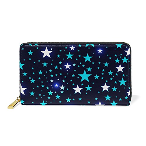 Bright Handbags And Womens Around Stars Purses Deep 1 Pattern Clutch Organizer Wallet Space Zip TIZORAX qwzP48Zdq