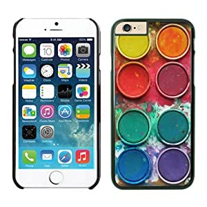 Iphone 6 Plus Case 5.5 Inches, Custom Art Design Black Hard Phone Cover Case for Apple Iphone 6 Plus Watercolor Sets With Brushes