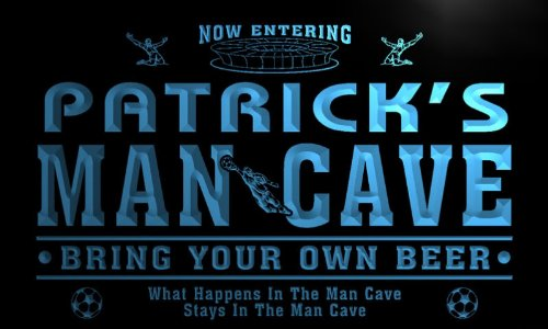 qd1465-b PATRICK's Man Cave Soccer Football Neon Beer Sign by AdvPro Name