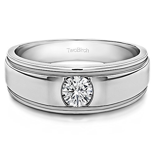 - 14k White Gold Gent's Ring Forever Brilliant Moissanite(0.14Ct) Size 3 To 15 in 1/4 Size Intervals
