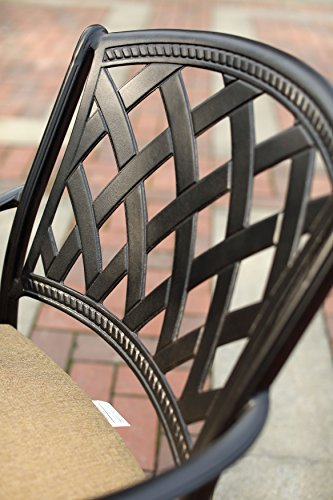 """Darlee 201630-7PC-30RE Cast Aluminum 7 Piece Rectangle Dining Set & Seat Cushions, 42"""" by 72"""", Antique Bronze - Weather-resilient hand made durable cast aluminum construction Powder-coated with elegant multi-step hand finish Sesame-colored seat cushion made of 100% polyester Chairs solid cast aluminum basket weave design seat, table includes removable umbrella hole cover, assembly required - patio-furniture, dining-sets-patio-funiture, patio - 51JdU66Br5L -"""
