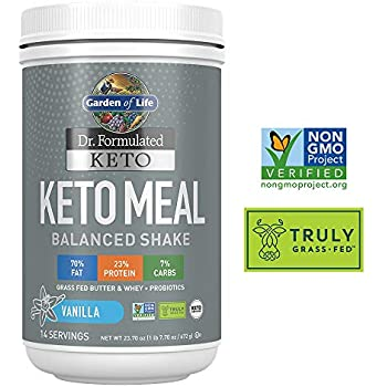 Garden of Life Dr. Formulated Keto Meal Balanced Shake - Vanilla Powder, 14 Servings, Truly Grass Fed Butter & Whey Protein plus Probiotics, Non-GMO, ...