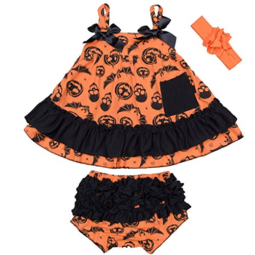 Top 10 Baby Girl Halloween Costumes (StylesILove Baby Girl Swing Top Pumpkin Dress and Bloomers with Headband 3 pcs Halloween Costume Outfit (M/6-12 Months))