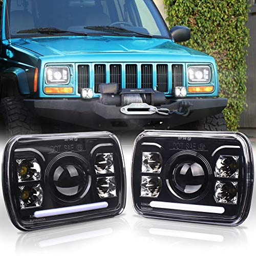 OVOTOR 7x6 Headlights 5X7 inch Square LED Headlights 60W Sealed Beam H6054 Headlamp with White DRL for Jeep YJ Cherokee XJ Chevy Ford Toyota Pickup GMC Truck