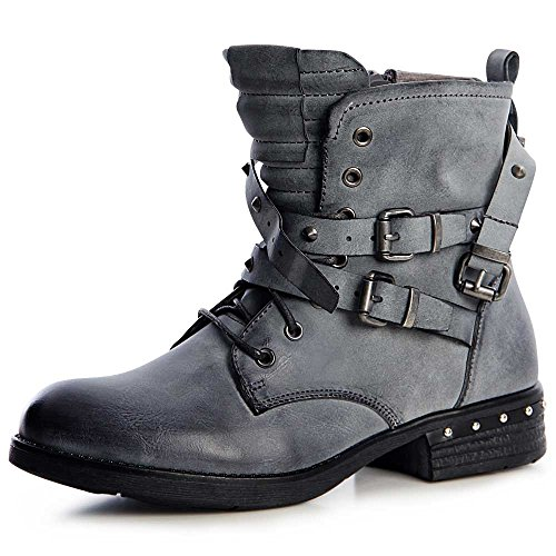Boots Mujer Topschuhe24 Worker Gris Botines Botín wIqx18